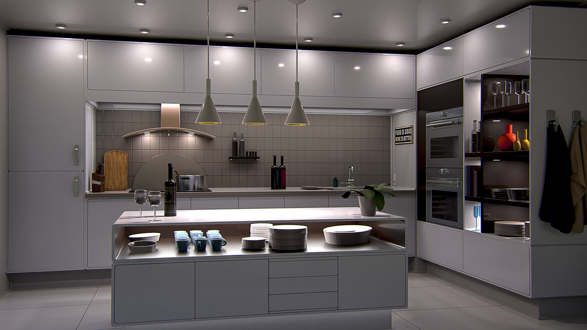 3D rendering of a kitchen