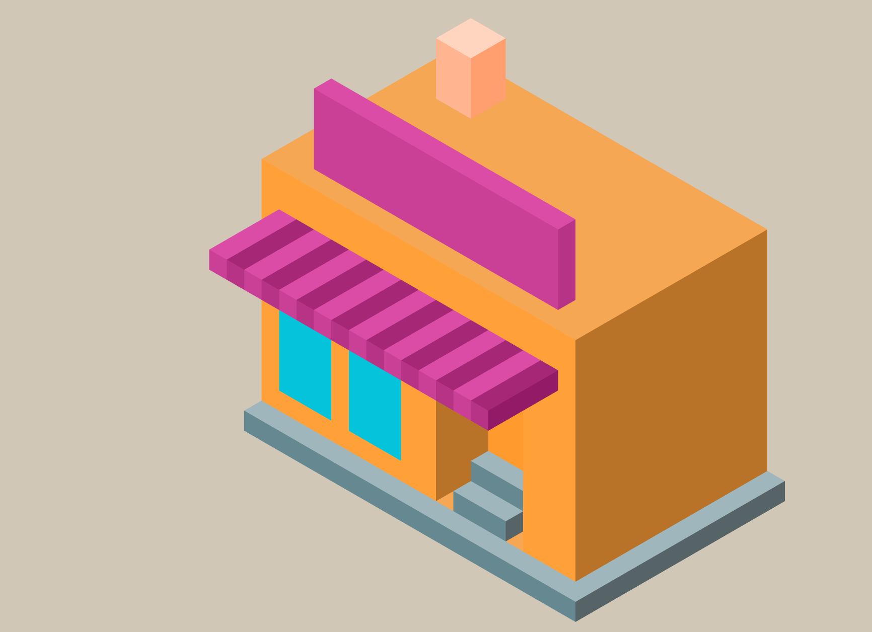 illustration of a house in isometric view